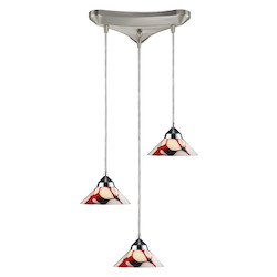 ELK Lighting Three Light Polished Chrome Creme White Glass Multi Light Pendant