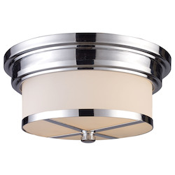 ELK Lighting Two Light Polished Chrome Drum Shade Flush Mount