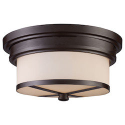 ELK Lighting Two Light Oiled Bronze Drum Shade Flush Mount