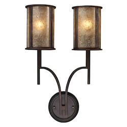 ELK Lighting Two Light Aged Bronze Tan Mica Shade Wall Light