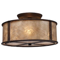 ELK Lighting Three Light Aged Bronze Tan Mica Shade Drum Shade Semi-Flush Mount