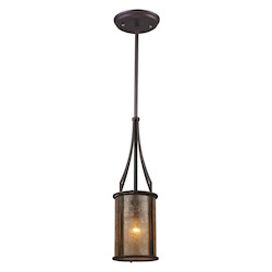 ELK Lighting One Light Aged Bronze Tan Mica Shade Down Mini Pendant