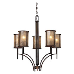 ELK Lighting Five Light Aged Bronze Tan Mica Shade Up Chandelier