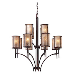 ELK Lighting Twelve Light Aged Bronze Tan Mica Shade Up Chandelier