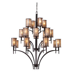 ELK Lighting Twenty Light Aged Bronze Tan Mica Shade Up Chandelier