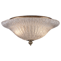 ELK Lighting Two Light Antique Silver Leaf Bowl Semi-Flush Mount