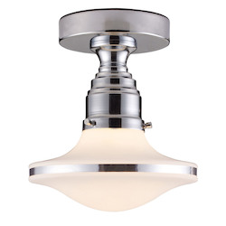 ELK Lighting One Light Polished Chrome School House Semi-Flush Mount