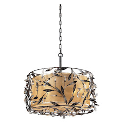 ELK Lighting Three Light Deep Rust Drum Shade Pendant