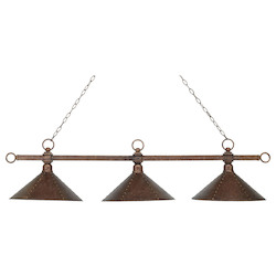 ELK Lighting Three Light Antique Copper Hand Hammered Iron Shade Pool Table Light
