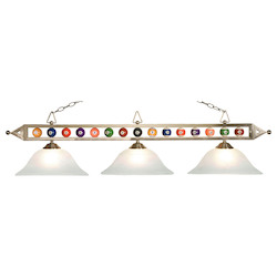 ELK Lighting Three Light Satin Nickel White Faux-Alabaster Glass Pool Table Light