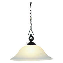 ELK Lighting Three Light Matte Black White Faux-Alabaster Glass Down Pendant