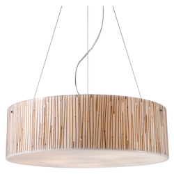 ELK Lighting Five Light Polished Chrome Drum Shade Pendant
