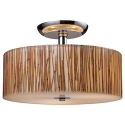 ELK Lighting Three Light Polished Chrome Drum Shade Semi-Flush Mount