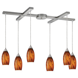 ELK Lighting Six Light Nickel Multi Light Pendant