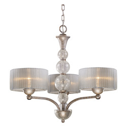 ELK Lighting Three Light Antique Silver Drum Shade Chandelier