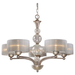 ELK Lighting Five Light Antique Silver Drum Shade Chandelier