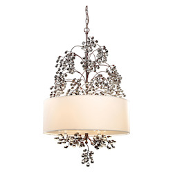 ELK Lighting Four Light Antique Darkwood Drum Shade Chandelier