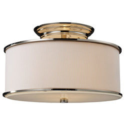 ELK Lighting Two Light Polished Nickel Drum Shade Semi-Flush Mount