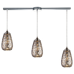 ELK Lighting Three Light Chrome Multi Light Pendant