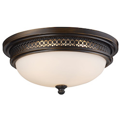 ELK Lighting Three Light Deep Rust Bowl Flush Mount