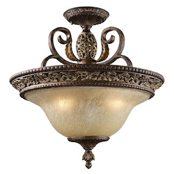 ELK Lighting Three Light Burnt Bronze Bowl Semi-Flush Mount