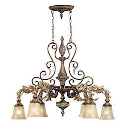 ELK Lighting Six Light Burnt Bronze Down Chandelier
