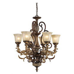 ELK Lighting Six Light Burnt Bronze Up Chandelier