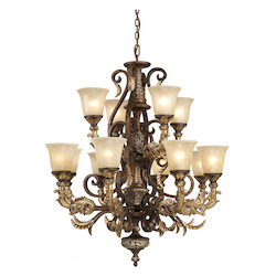 ELK Lighting Twelve Light Burnt Bronze Up Chandelier