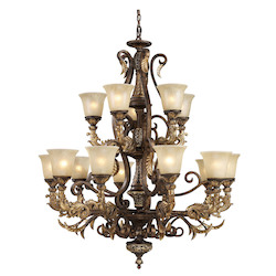 ELK Lighting Fifteen Light Burnt Bronze Up Chandelier