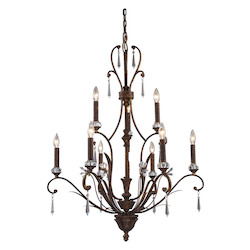 ELK Lighting Nine Light Burnt Bronze Up Chandelier