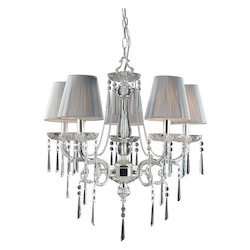 ELK Lighting Five Light Polished Silver Iced Glass Up Chandelier