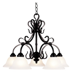 ELK Lighting Five Light Matte Black Down Chandelier