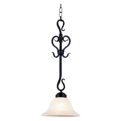ELK Lighting One Light Matte Black White Glass Down Pendant