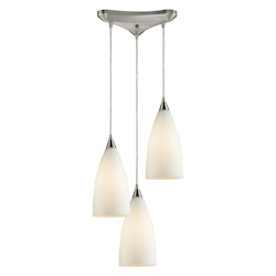 ELK Lighting Three Light Satin Nickel White Glass Multi Light Pendant