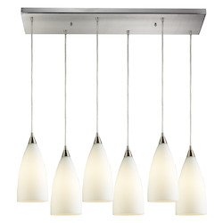 ELK Lighting Six Light Satin Nickel White Glass Multi Light Pendant