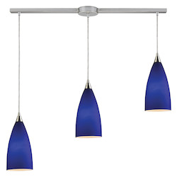 ELK Lighting Three Light Satin Nickel Blue Glass Multi Light Pendant