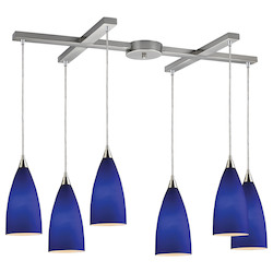 ELK Lighting Six Light Satin Nickel Blue Glass Multi Light Pendant