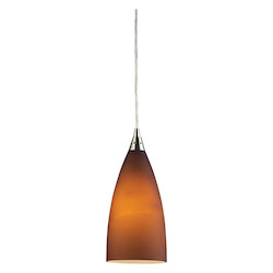 ELK Lighting One Light Satin Nickel Light Amber Glass Down Mini Pendant