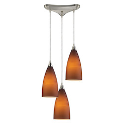 ELK Lighting Three Light Satin Nickel Light Amber Glass Multi Light Pendant