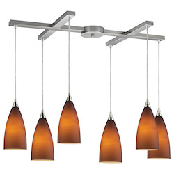 ELK Lighting Six Light Satin Nickel Light Amber Glass Multi Light Pendant
