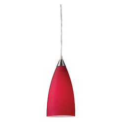 ELK Lighting One Light Satin Nickel Cardinal Red Glass Down Mini Pendant