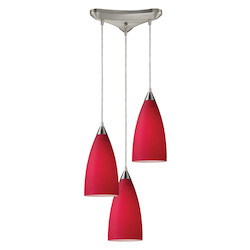 ELK Lighting Three Light Satin Nickel Cardinal Red Glass Multi Light Pendant