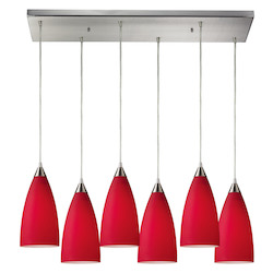 ELK Lighting Six Light Satin Nickel Cardinal Red Glass Multi Light Pendant