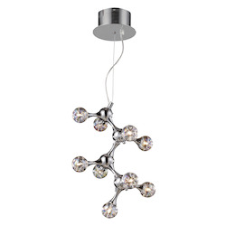 ELK Lighting Nine Light Polished Chrome Rainbow Glass Down Chandelier