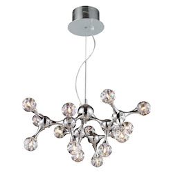 ELK Lighting Fifteen Light Polished Chrome Rainbow Glass Down Chandelier