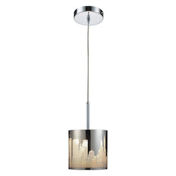 ELK Lighting One Light Polished Stainless Steel Drum Shade Pendant