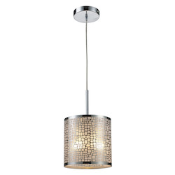 ELK Lighting One Light Polished Stainless Steel Drum Shade Mini Pendant