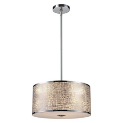 ELK Lighting Three Light Polished Stainless Steel Drum Shade Pendant