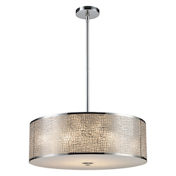 ELK Lighting Five Light Polished Stainless Steel Drum Shade Pendant