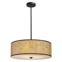 ELK Lighting Five Light Aged Bronze Drum Shade Pendant